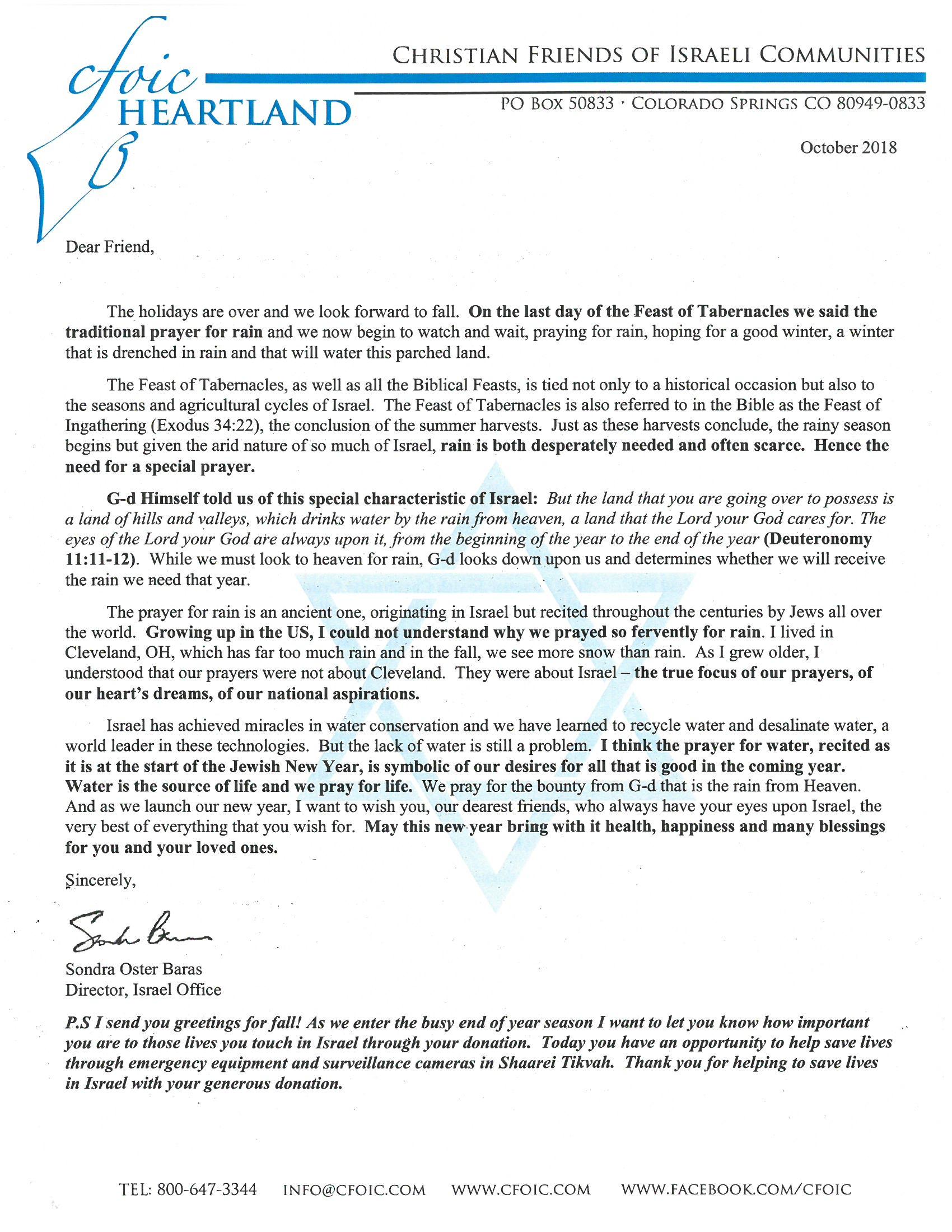 Letter From Sondra – Oct 2018 | Christian Friends of Israeli